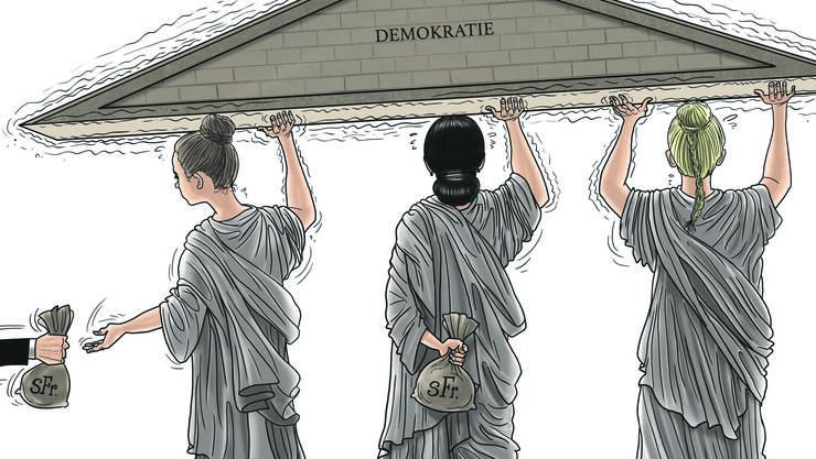 Der Blick unseres Karikaturisten Silvan Wegmann auf die Auswirkungen der Korruption auf die Demokratie.