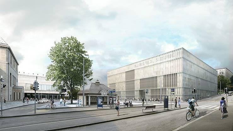 Visualisierung: Blick vom Zeltweg / Ecke Rämistrasse über den Heimplatz auf den neuen Haupteingang.