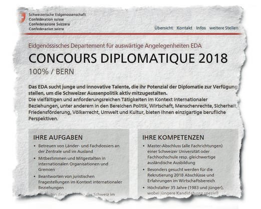 Wer sich dieses Jahr noch für die Diplomatenausbildung bewerben will, muss sich sputen: Am 8. April läuft die Bewerbungsfrist ab.