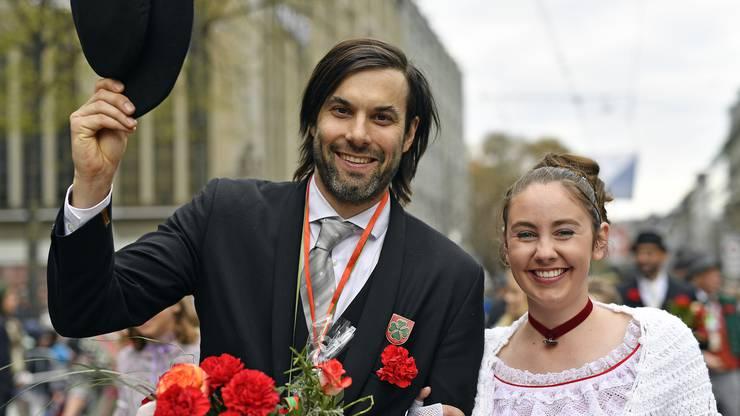Zwinglidarsteller Max Simonischek am Umzug.