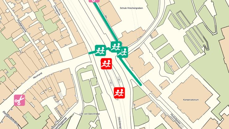 In Zürich funktioniert es bereits: Der Plan soll gefährliche Strassenübergänge (rot) aufzeigen und damit Schülern, Eltern und verschiedenen Behörden helfen Unfälle zu vermeiden.