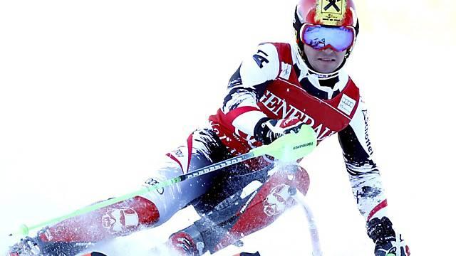 Marcel Hirscher führt nach dem 1. Lauf in Alta Badia.