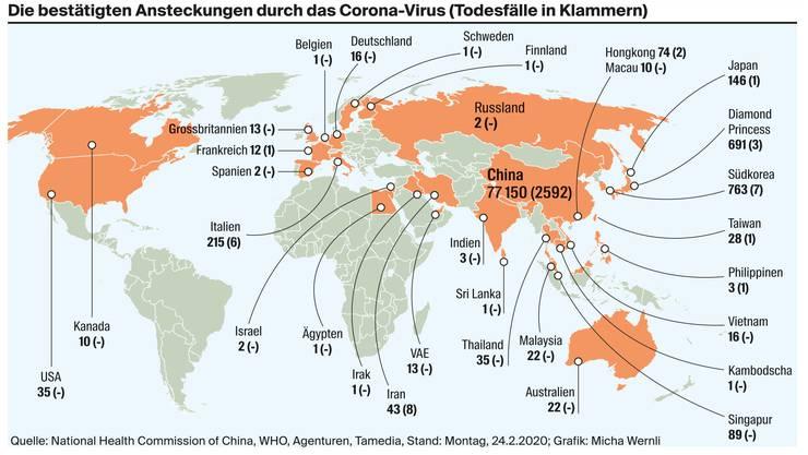 Corona-Virus Ansteckungen und Todesfälle