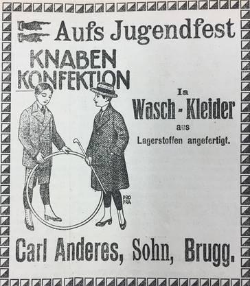 Diese Inserate sowie das Programm für die Morgenfeier wurden 1919 im Brugger Tagblatt publiziert.