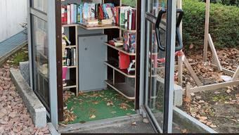Seit April 2018 in Betrieb: die Bücherbox bei der Steiner Poststelle. Bild: Dennis Kalt