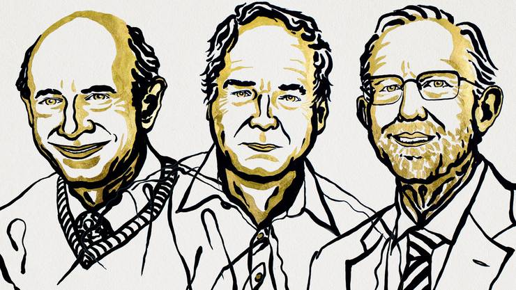 Die drei Gewinner: Harvey J. Alter, Michael Houghton und Charles M. Rice.