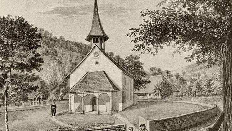Die Kirche Rued um 1810, gezeichnet von Pfr. Johann Christian Leemann, der 1804–1814 in Rued amtierte (graphische Sammlung im StA AG) .