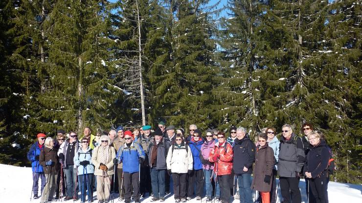 Seniorenwandergruppe im Sörenberger Schnee