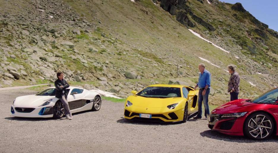 Clarkson fährt einen Lamborghini, May hat einen Honda NSX und Hammond einen Rimac Concept One