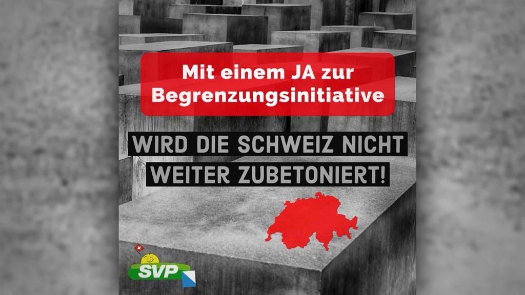 Shitstorm: Zürcher SVP wirbt mit Judendenkmal für Begrenzungsinitiative