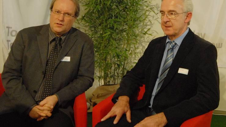 Zuversichtlich: Die Gewerbevereinspräsidenten Daniel Weber (links) und Jörg Wüst. (Walter Schwager)