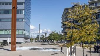 Hier, in der Bildmitfte zwischen FHNW-Neubau (links) und Transitlager (rechts), käme der Steg zur Grün 80 hin.