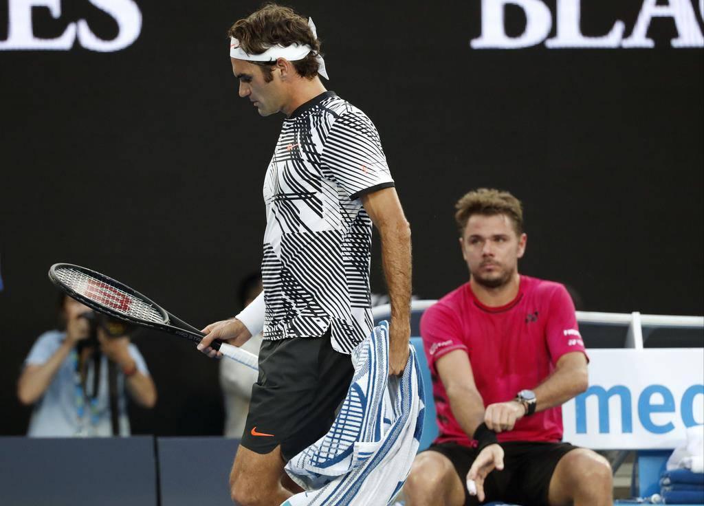 Federer und Wawrinka lieferten sich ein umkämpftes Spiel (© Keystone)