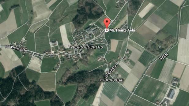 Auf dem Gelände der Holzbaufirma «Heinz Aebi Holzbau» in Kyburg-Buchegg(rot markiert) wurde eingebrochen.