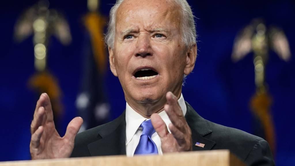 Joe Biden, demokratischer Präsidentschaftskandidat, spricht während des Parteitages der US-Demokraten. Foto: Andrew Harnik/AP/dpa