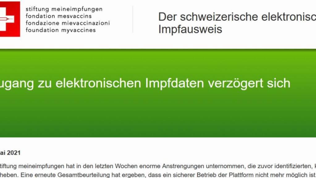 Die Plattform meineimpfungen.ch wird eingestellt, weil die Sicherheitslücken nicht behoben werden können.
