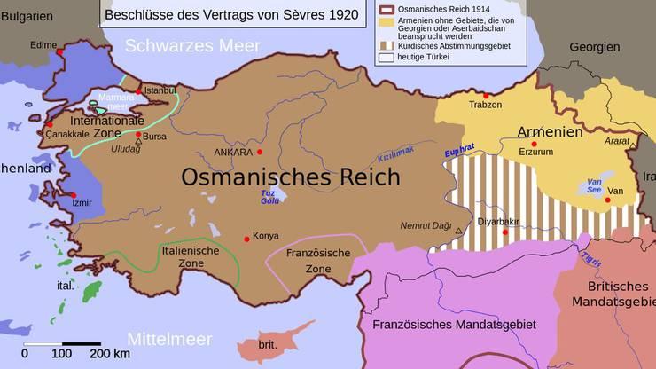 Vom Osmanischen Reich wäre nach dem Vertrag von Sèvres nur ein kümmerlicher Rest übrig geblieben.