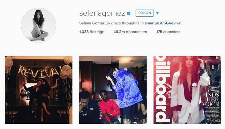 Trotz Nacktbild auf Platz 4: Selena Gomez mit etwas mehr als 46 Millionen Abonnenten.