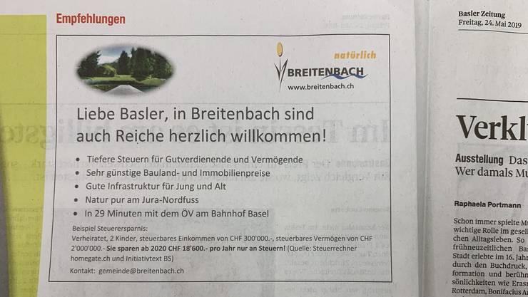 Dieses Inserat erschien am Freitag in der «Basler Zeitung».