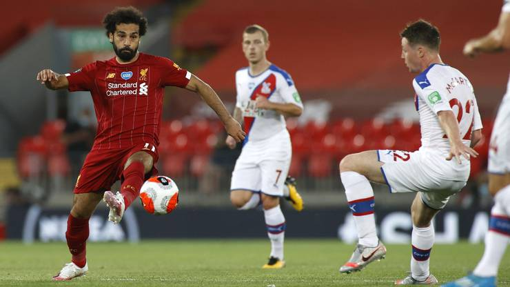 Liverpools Mohamed Salah (einst beim FC Basel) während der Partie gegen Crystal Palace, die 4:0 endete und dem Titel den Weg ebnete.