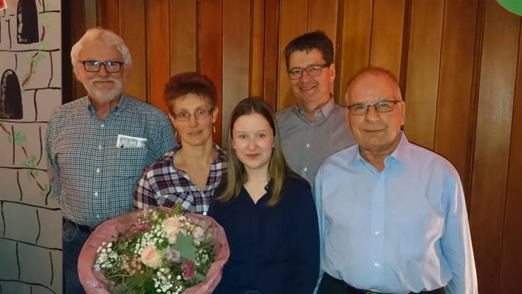 (von links nach rechts) Markus Jäggi, Susanne Huwiler, Fabienne Wyss, Präsident Walter Kiener und Ruedi Lack.