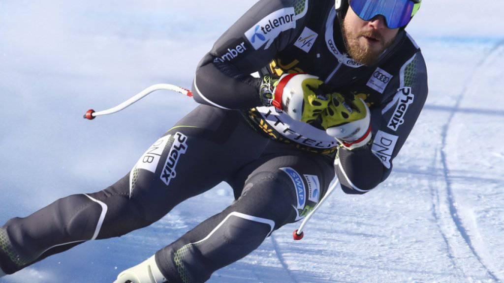 Abfahrts-Weltmeister Kjetil Jansrud auf seiner Heimstrecke in Kvitfjell unterwegs zur Bestzeit im einzigen Training