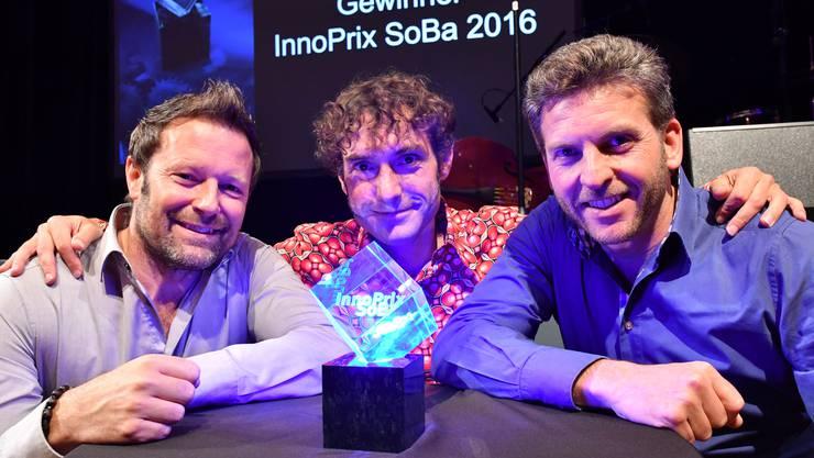 Reto Baumgartner, Mike Müller und Urs Koller – die drei Geschäftsinhaber des Oltner E-Commerce-Unternehmens MySign. Im November gewannen Sie den InnoPrix SoBA 2016