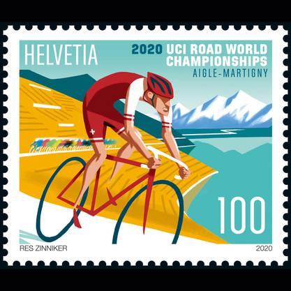 Mit dieser Briefmarke möchte die Post laut Mitteilung die Arbeit des Organisationskomitees würdigen, trotz Absage der Rad-WM.