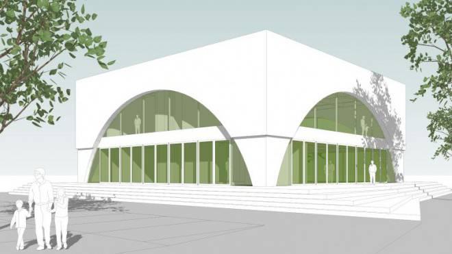 So soll das islamische Kulturzentrum im Industriegebiet an der Oristalstrasse in Liestal aussehen. Foto: VISUALISIERUNG/ZVG