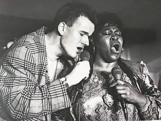 1989: Philipp Fankhauser mit der US-Sängerin Margie Evans.
