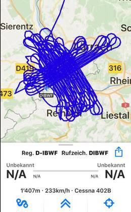 Diese Route des 3D-Fluges über Basel zeichnete Flightradar24 auf.