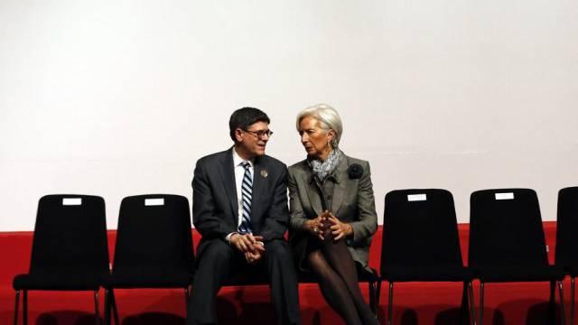 IWF-Chefin Lagarde (l.) neben US-Finanzminister Lew in Istanbul