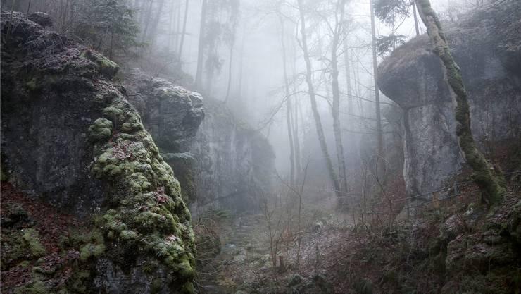 Im Nebel ist die Tüfelsschlucht bei Hägendorf noch geheimnisvoller, als ob bald ein Geschöpf aus einer fantastischen Filmwelt die Szenerie beträte.