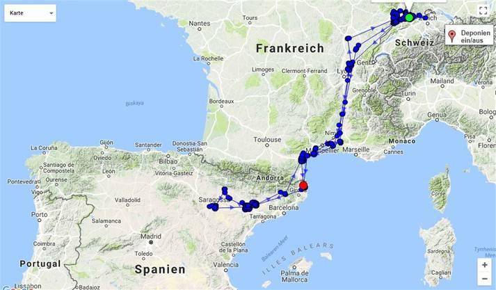 Im Internet können die Flugbewegungen von Camino verfolgt werden.