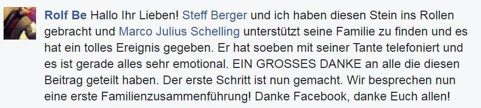 Ein Freund von Marco Schelling informiert, dass dieser eine Tante gefunden hat