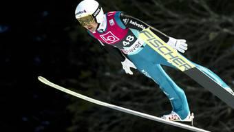 Simon Ammann landet in Vikersund nach einem Flug auf 206 Meter