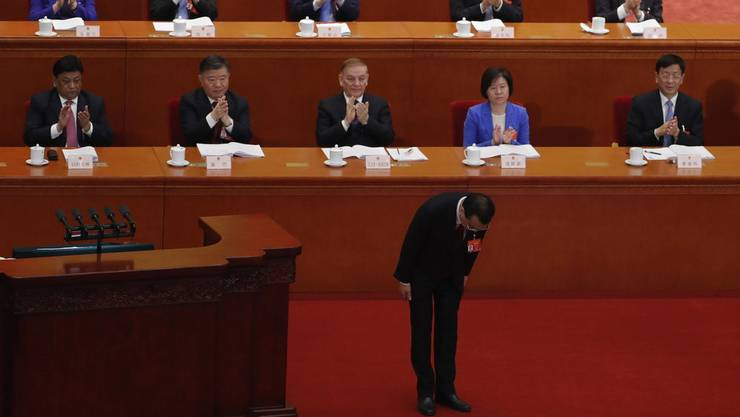 Premierminister Li Keqiang vor dem Nationalen Volkskongress im Jahr 2019.