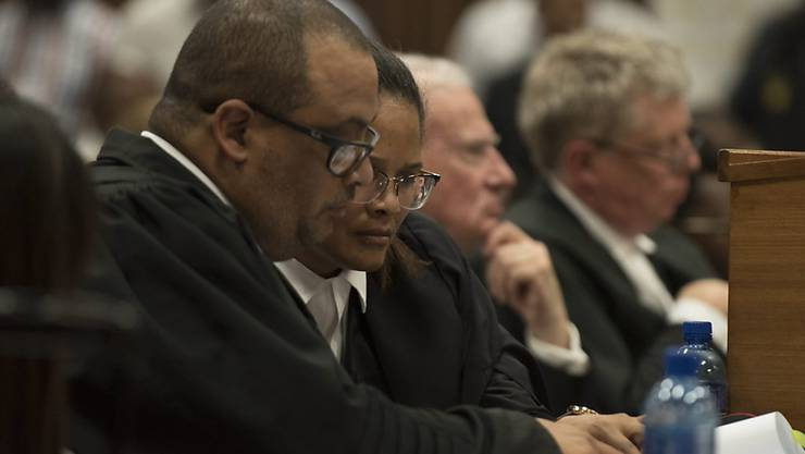 Anthea Platt und Myron Dewerance, die Vertreter des südafrikanischen Präsidenten Zuma, im Gerichtssaal.