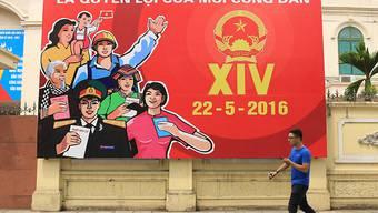 Wahlplakat in Hanoi