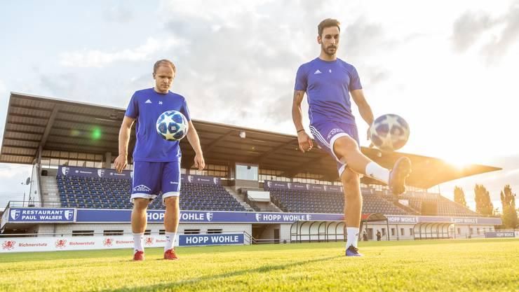 Ronny Minkwitz (l.) und David Giampà trainieren im Stadion Niedermatten.