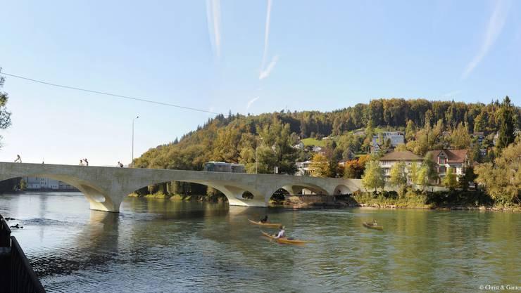 Der Pont Neuf (Visualisierung) soll die Kettenbrücke ersetzen. Diese hat nach 65 Jahren das Ende ihrer Einsatzdauer erreicht und muss dauernd geflickt werden.