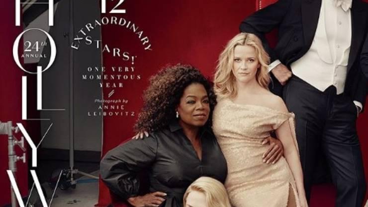"""Photoshop-Patzer oder echt? Weder noch: Vanity Fair nimmt Stellung zum """"dritten Bein"""" von Reese Witherspoon (mitte rechts). (Instagram)"""