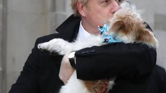 Premierminister Boris Johnson gab seine Stimme zusammen mit seinem Hund Dilyn ab.