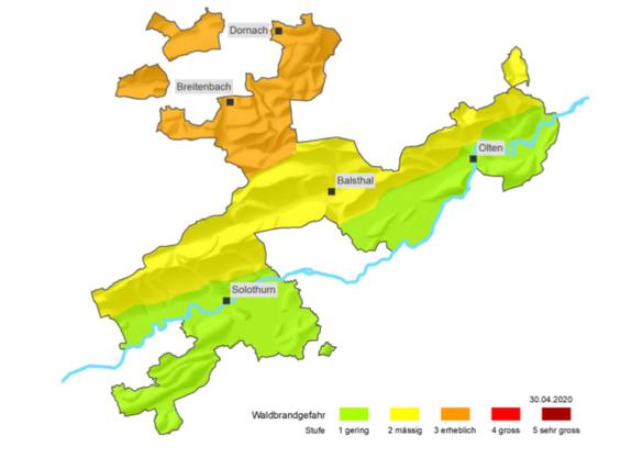 Die Waldbrandgefahrskarte im Kanton Solothurn per 30.4.2020