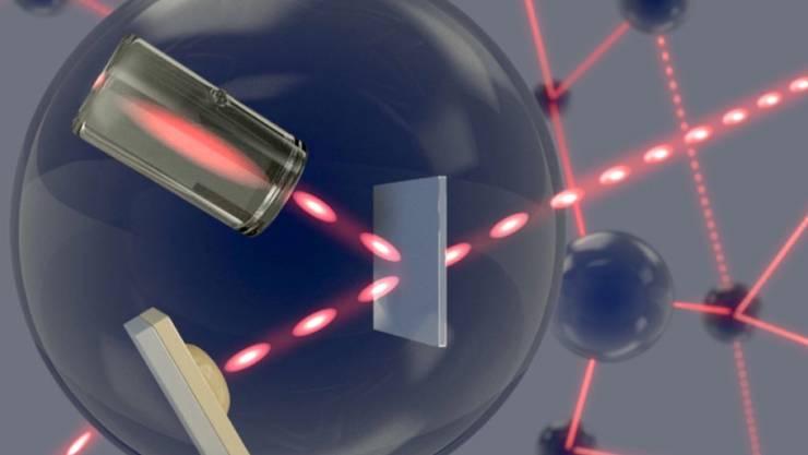 In einem Quantennetzwerk übermitteln einzelne Photonen Informationen zwischen den Netzwerk-Knotenpunkten, wo sie in einem atomaren Gas gespeichert werden.