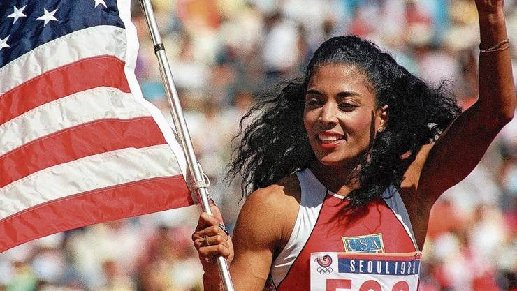 Florence Griffith-Joyner nach dem 100-Meter-Final an den Olympischen Spielen 1988.