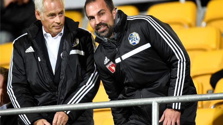 Kampf gegen die sportliche Krise und die Heckenschützen – FCL-Präsident Ruedi Stäger und Trainer Markus Babbel sind in der Kritik.Keystone