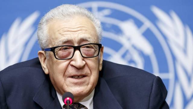 UNO-Vermittler Lakhdar Brahimi am Dienstag vor den Medien in Genf