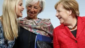 Ivanka Trump (l), Christine Lagarde (M) und Angela Merkel am Dienstag in Berlin.