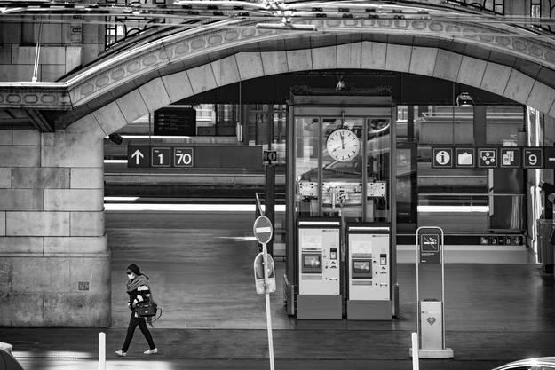 Voie 1: Der Bahnhof Lausanne im Lockdown.